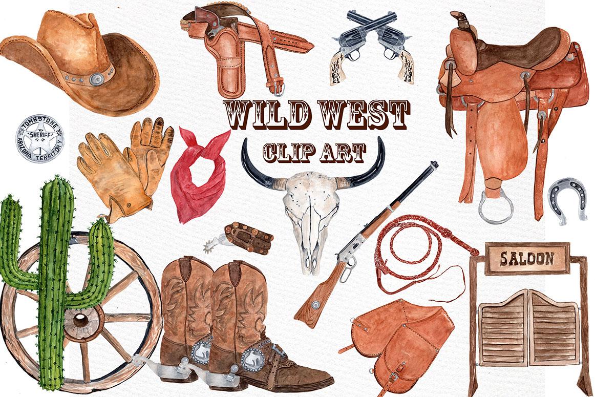 Watercolor Cowboy Clipart example image 1