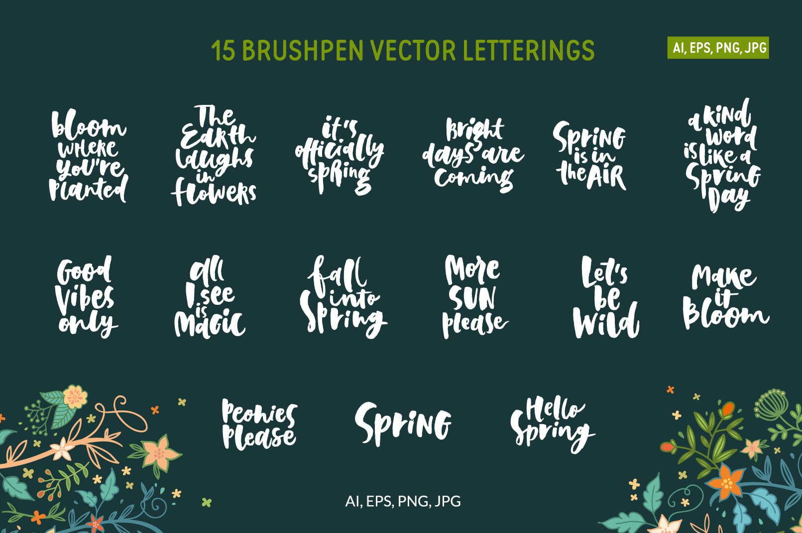 Spring! Letterings+graphics+patterns example image 2