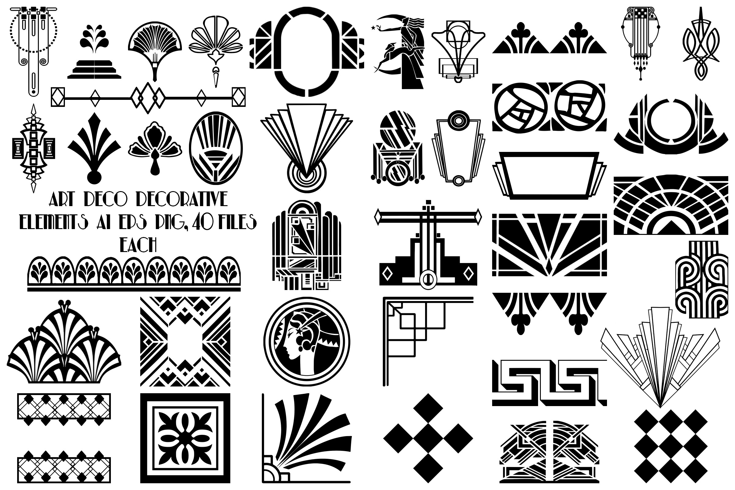 Art deco decorative elements ai eps png gatsby style - Art deco design elements ...