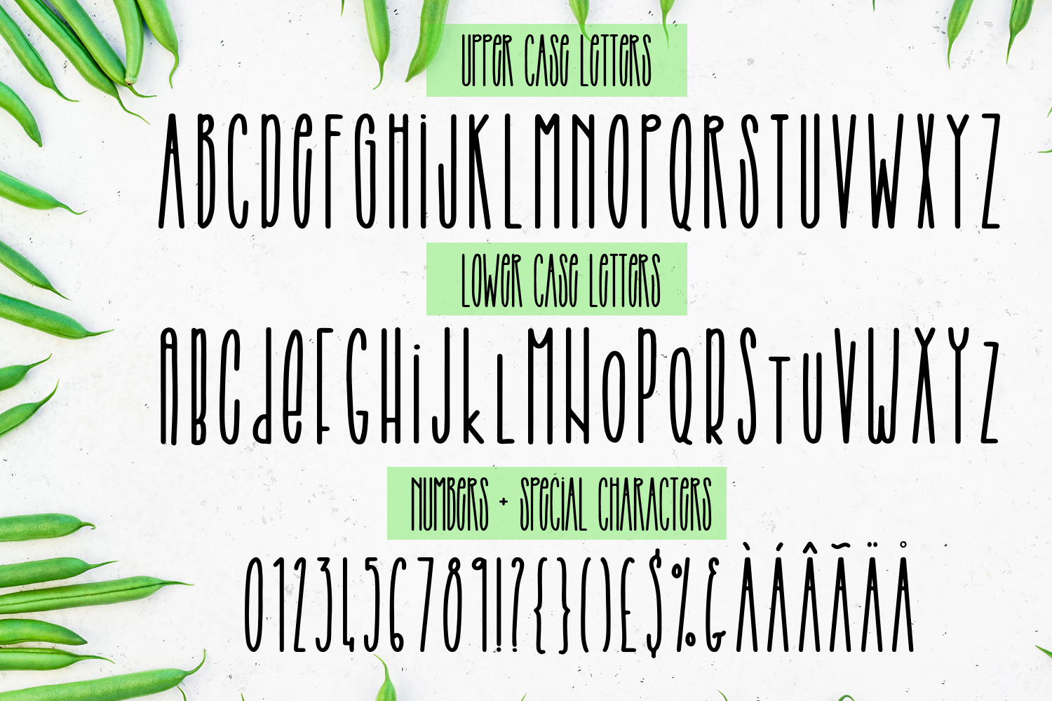 String Beans - A fun hand-lettered all caps font duo example image 2