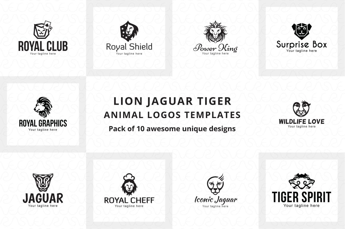 Lion Jaguar Tiger Animal Logo Templates Pack of 10 example image 6