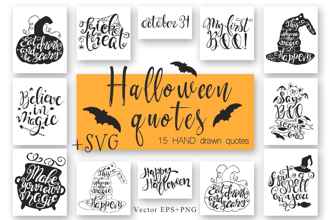 Halloween hand drawn Quotes SVG Cut files example image 1