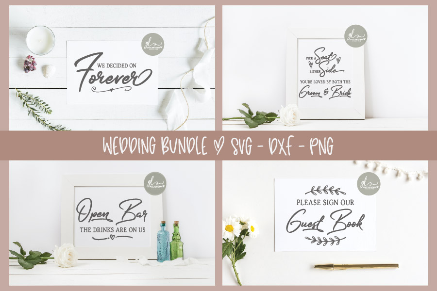 Huge Wedding Sign SVG Bundle - 25 Designs - SVG, DXF & PNG example image 4