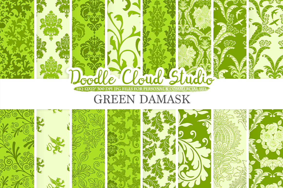 Green Damask digital paper, Swirls patterns, Digital Floral Damask, Green background, Instant Download for Personal & Commercial Use example image 1