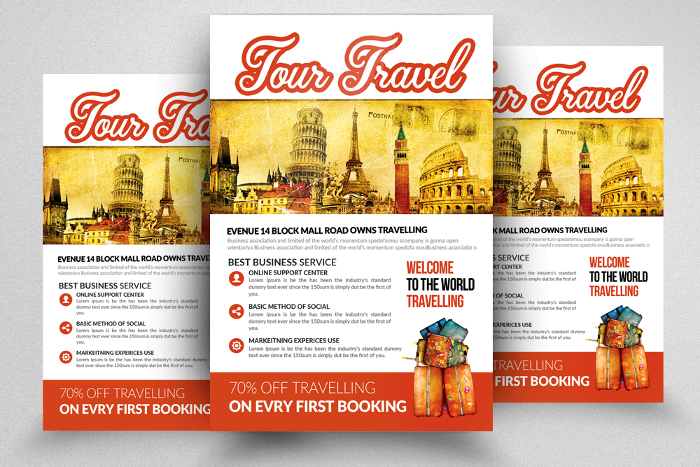 10 Tour Travel Agency Flyer Template Bundle example image 7