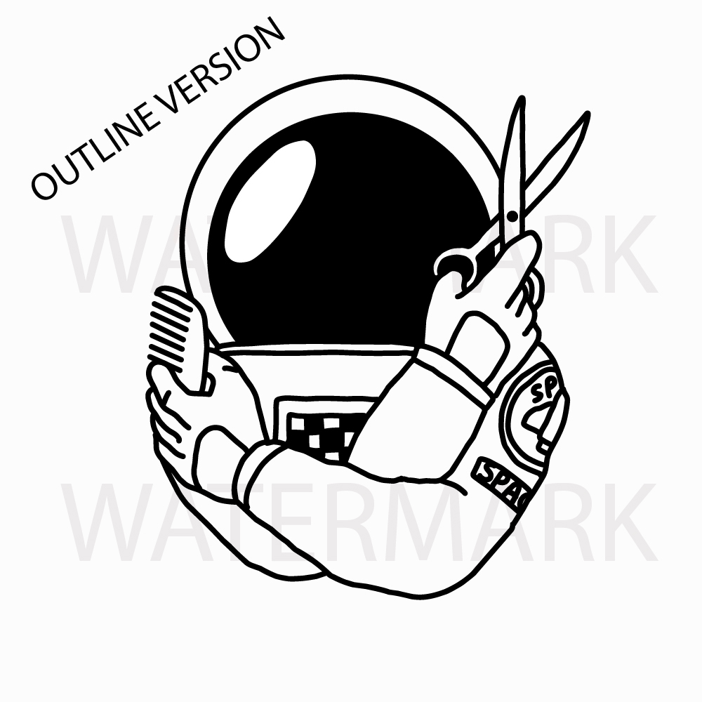 Astronaut Barber - 2 version color and outline- SVG/JPG/PNG Hand Drawing example image 2