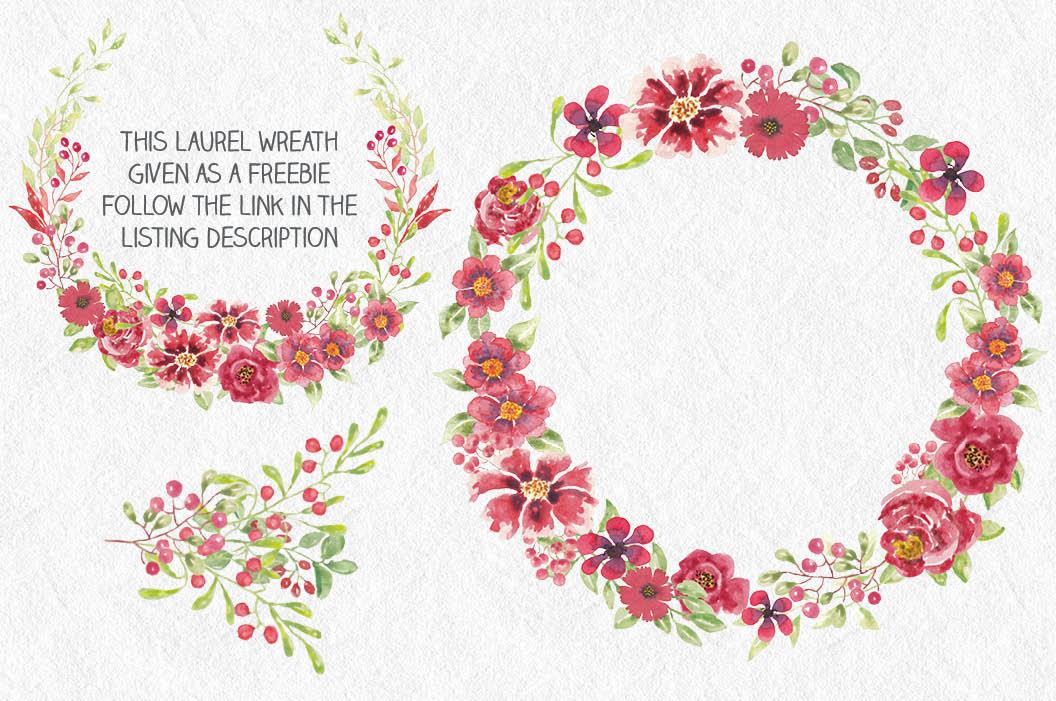 Watercolor clip art bundle: red berries 'n blooms example image 4
