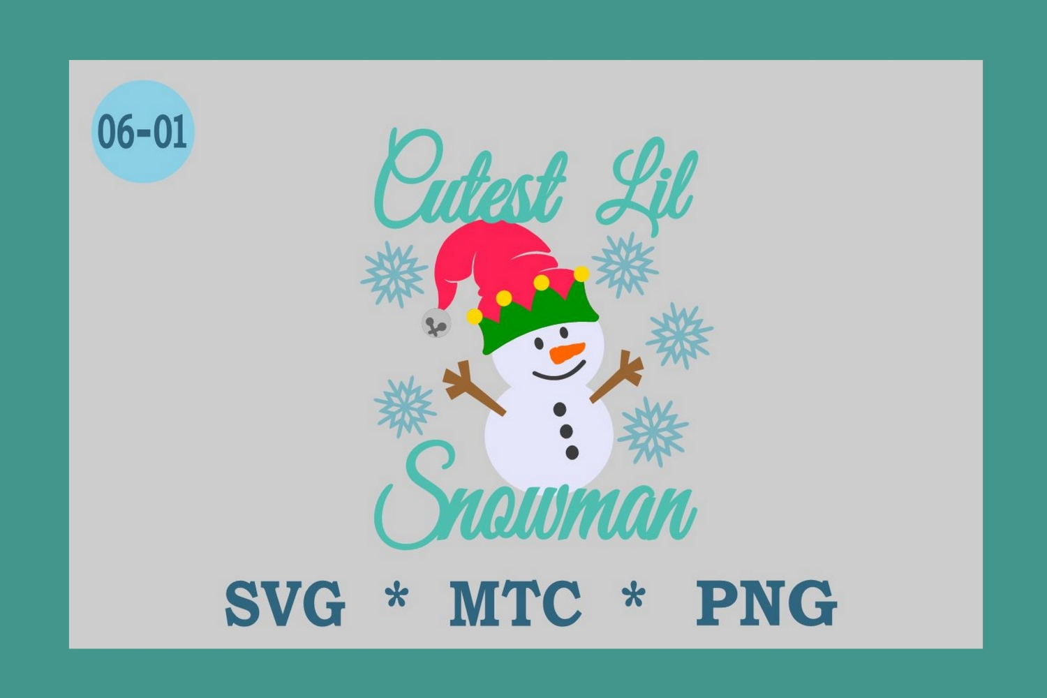 Cutest Lil Snowman w/Hat Design #06-01 Winter SVG Cut File example image 1