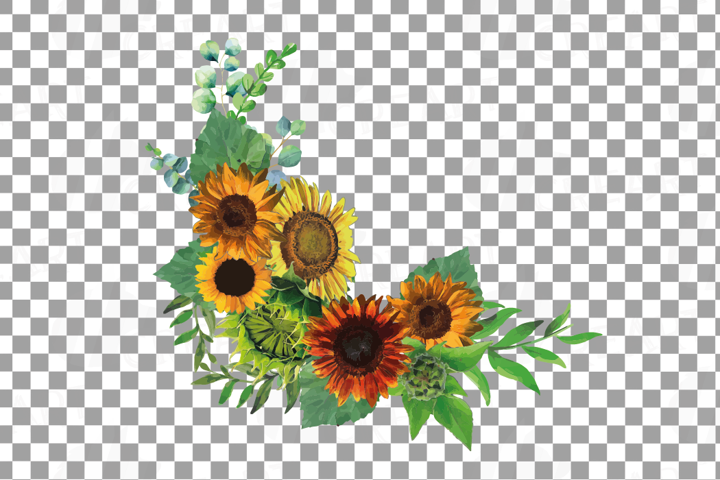 Watercolor sunflower bouquets and design elements example image 15