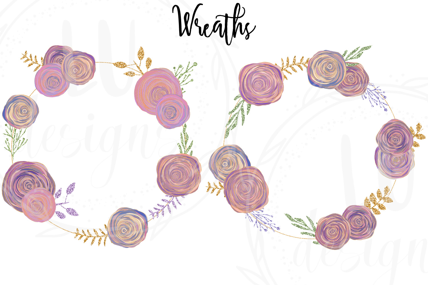 Floral and Glitter Clipart, Purple Flowers Graphics example image 5