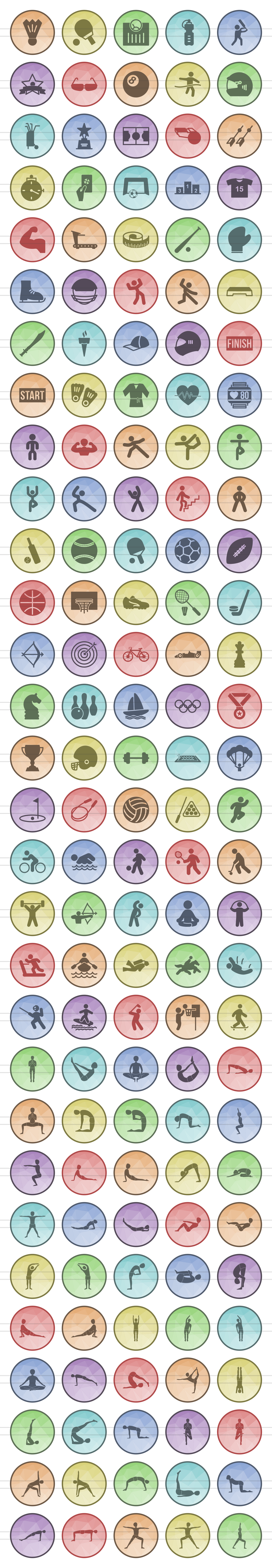 150 Fitness & Sports Filled Low Poly Icons example image 2