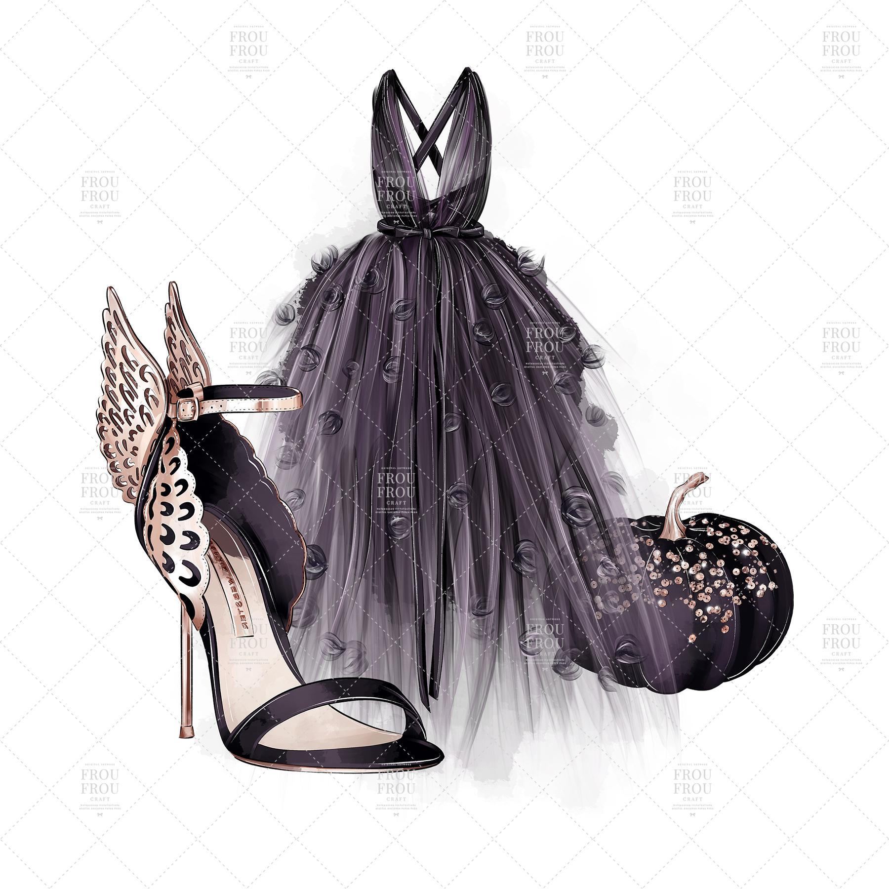 Halloween Fashion Black Dress Gold Jewelry Clip Art example image 7
