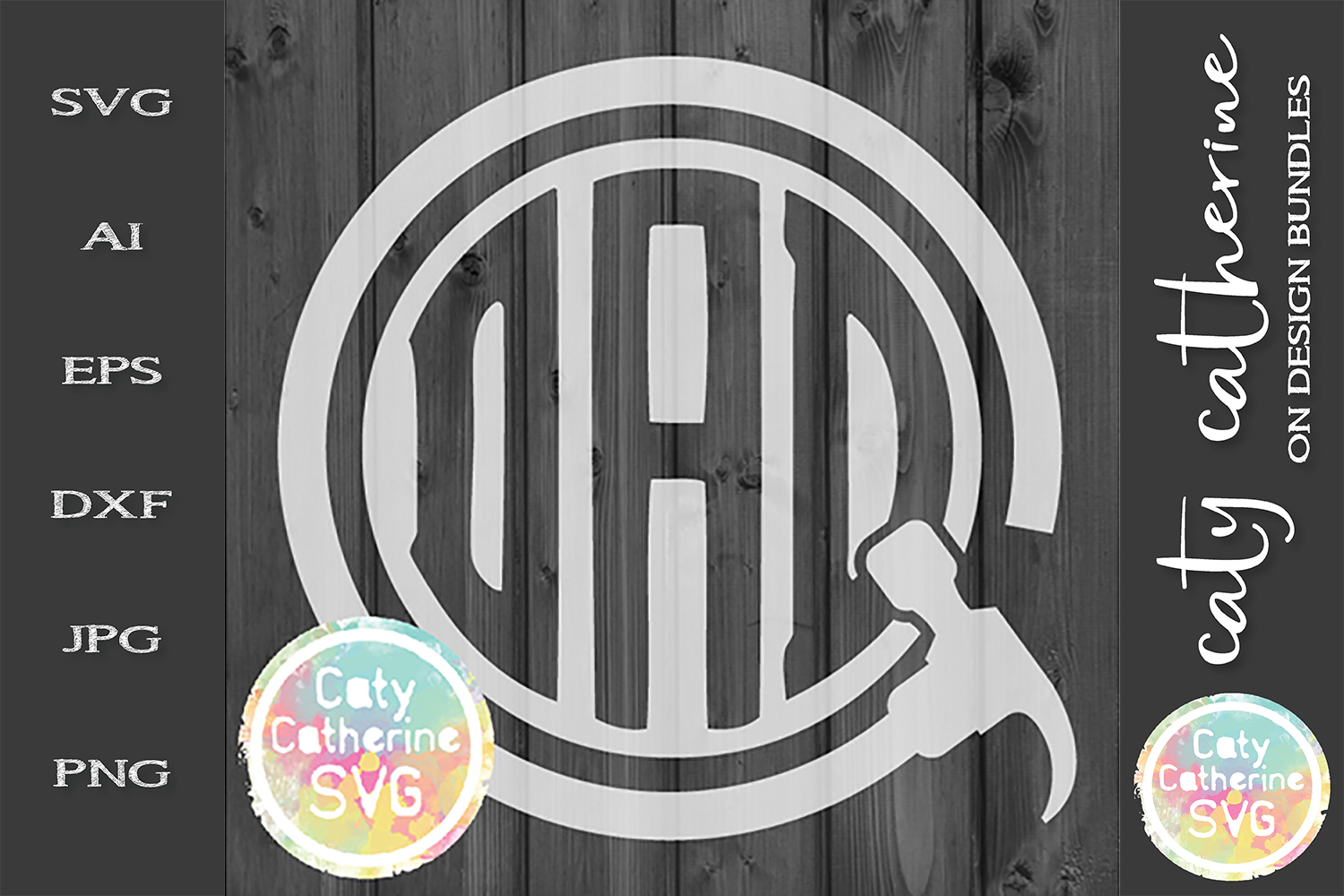 DAD Hammer Monogram Frame Father's Day SVG Cut File example image 1