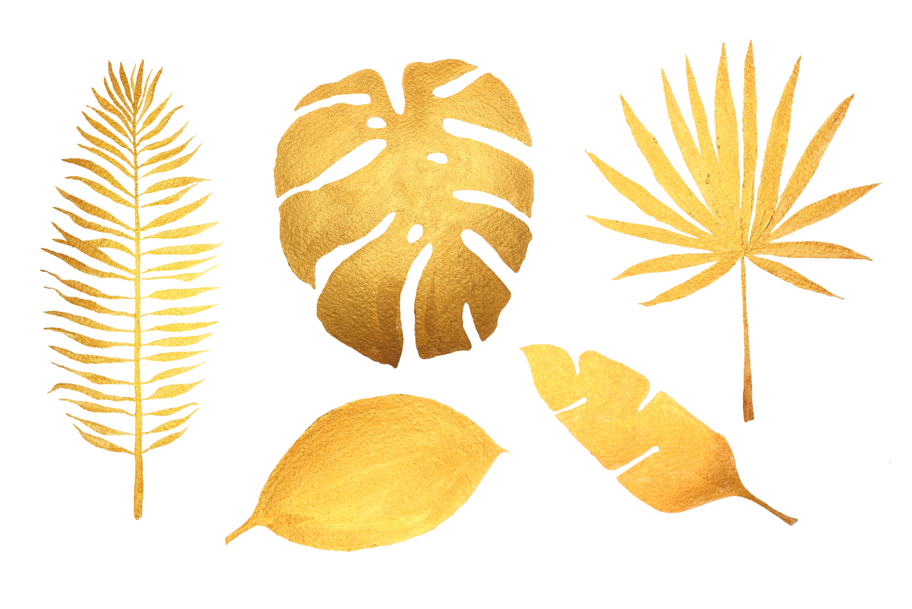 Golden tropical leaves & pattern example image 2