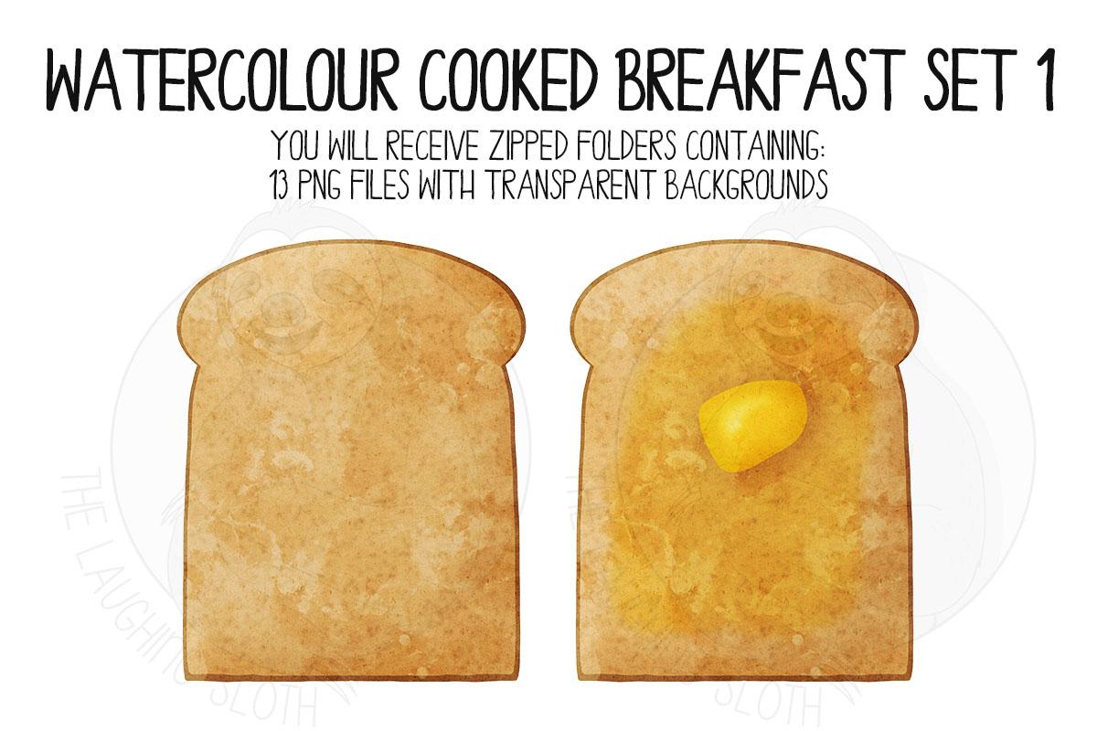 Watercolor Cooked Breakfast Clip Art Set example image 2