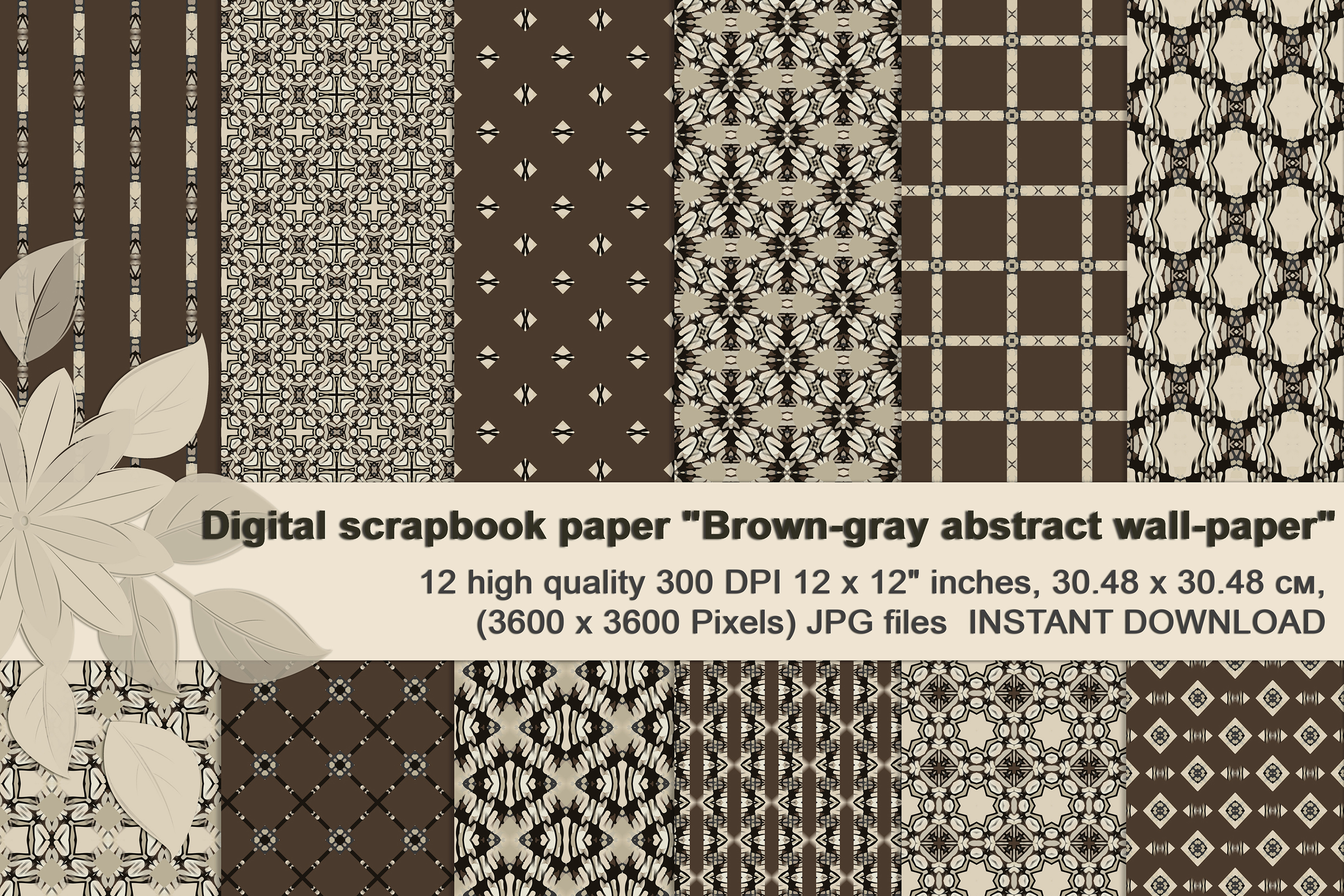 Brown-Gray abstract Digital Scrapbook Paper example image 1