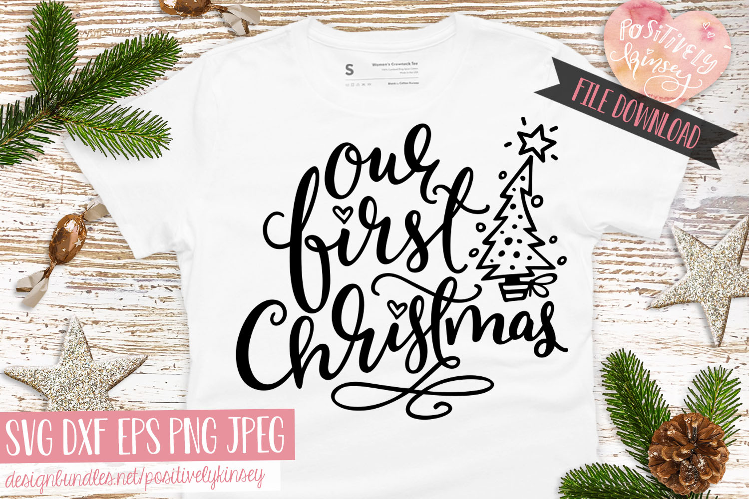 Our First Christmas SVG DXF PNG EPS Family Christmas Quote example image 4