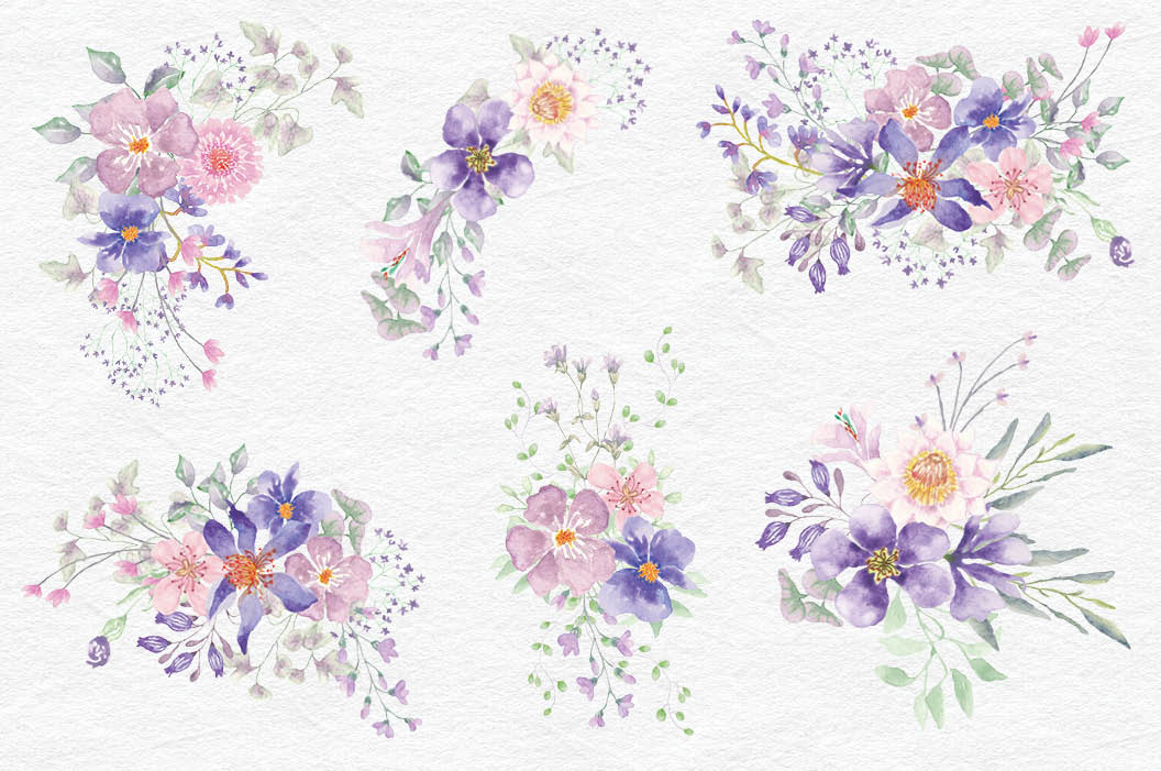 Purple Dreams watercolor design set example image 5