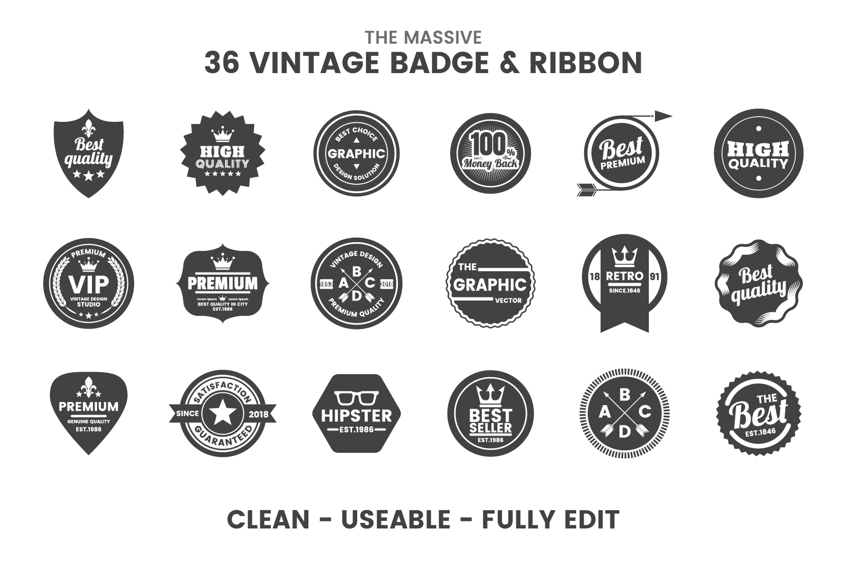 36 VINTAGE BADGE & RIBBON Vol.8 example image 4