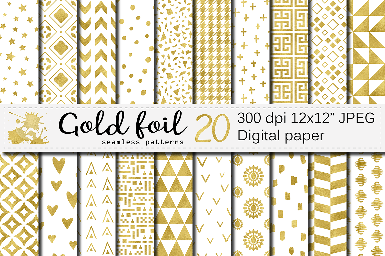 Gold foil seamless geometric patterns / Gold digital paper example image 1