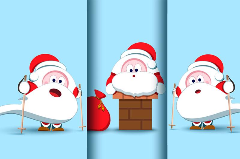 Santa Claus Christmas character set of 17 illustrations example image 3