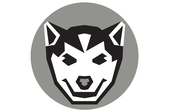 Baby Wolf Cub Head Circle Retro example image 1