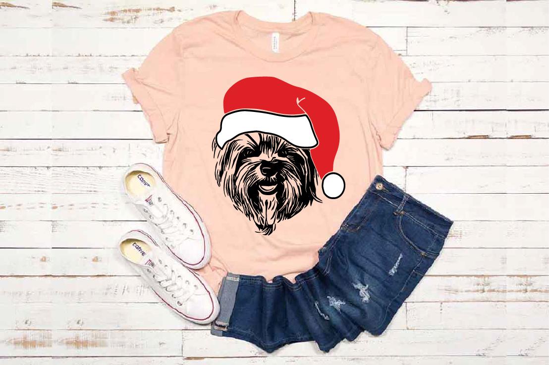 Yorkie Whit Christmas Hat Santa's Elf santa Squad dog 1592s example image 1