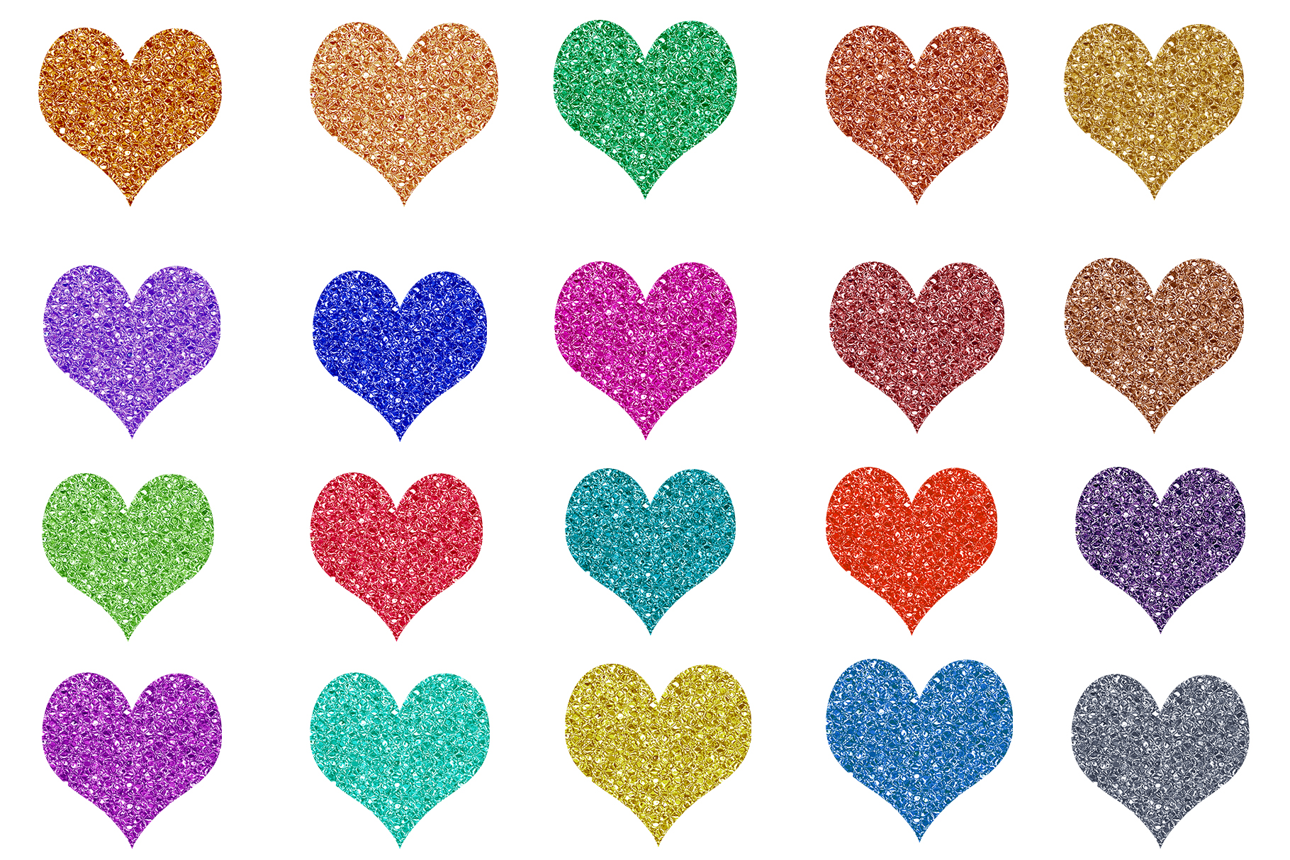 Glitter Heart Clipart, Sparkles Heart Clipart example image 2