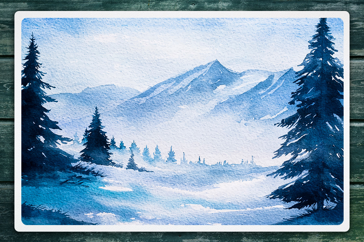 Winter Landscapes set#2. Watercolor. example image 4