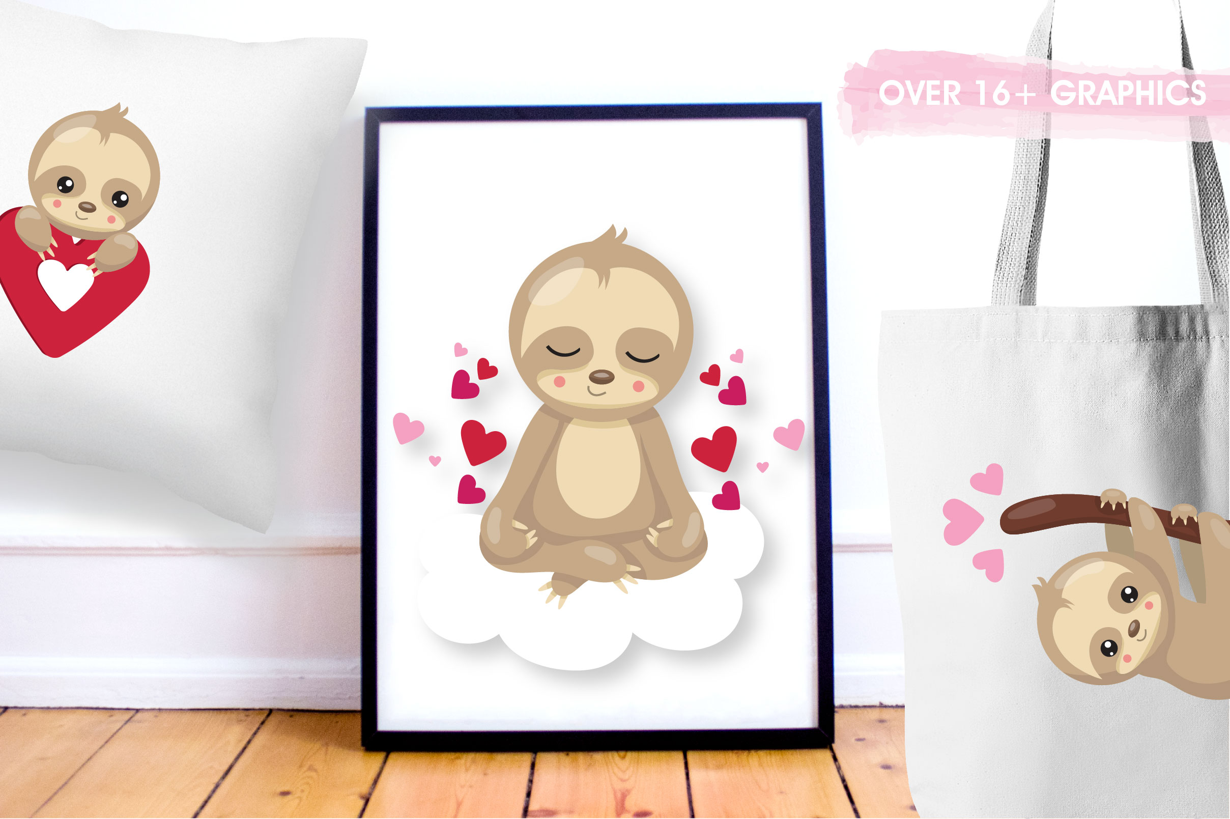 Valentine sloths graphics and illustrations example image 5