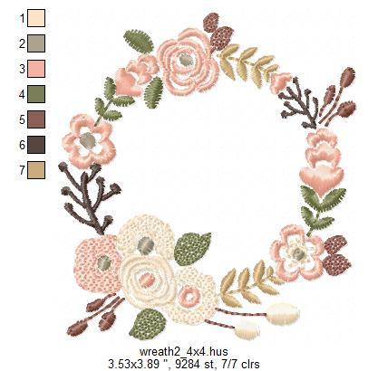 Floral Wreath Font Frame Monogram Design - EMBROIDERY DESIGN FILE - Instant download - Vp3 Hus Dst Exp Jef Pes formats 5 sizes 3,4,5,6,7inch example image 7