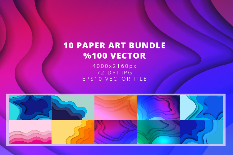 10 Paper Art Design Bundle - Backgrounds - Jpg and Vector example image 1