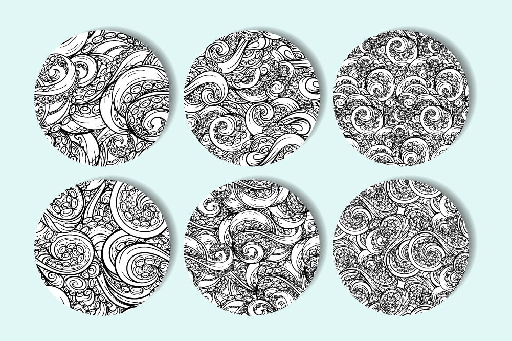 Black and white tentacles patterns set example image 2