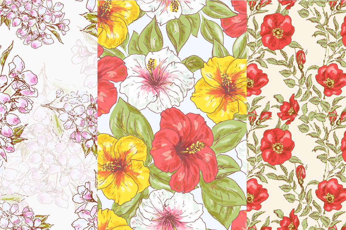 Hand Drawn Floral Vector Patterns example image 3