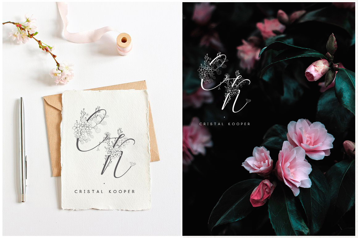 Flowered Monograms & Logo Collection example image 14