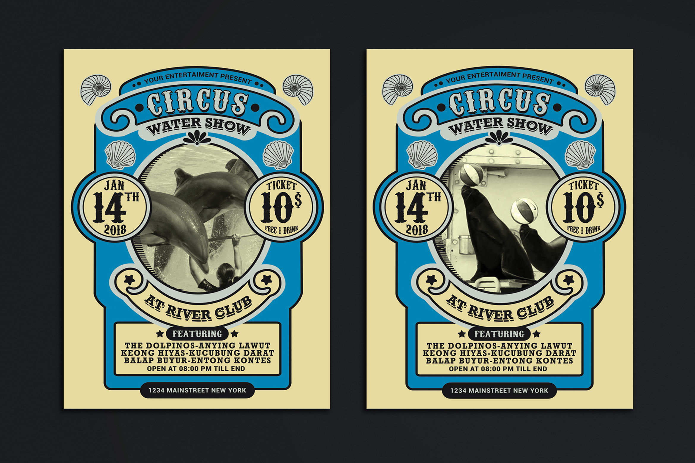 Vintage Marine Circus Carnival Flyer example image 1