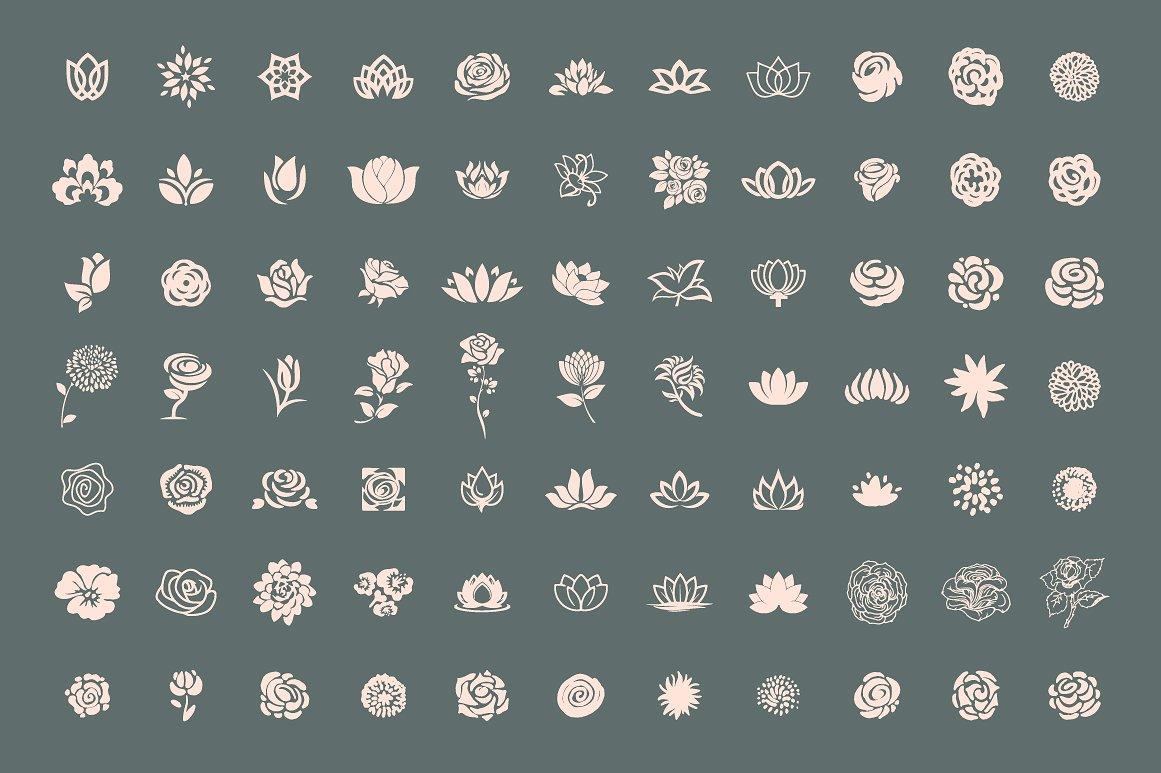 Pack of 77 decorative flower symbols example image 4