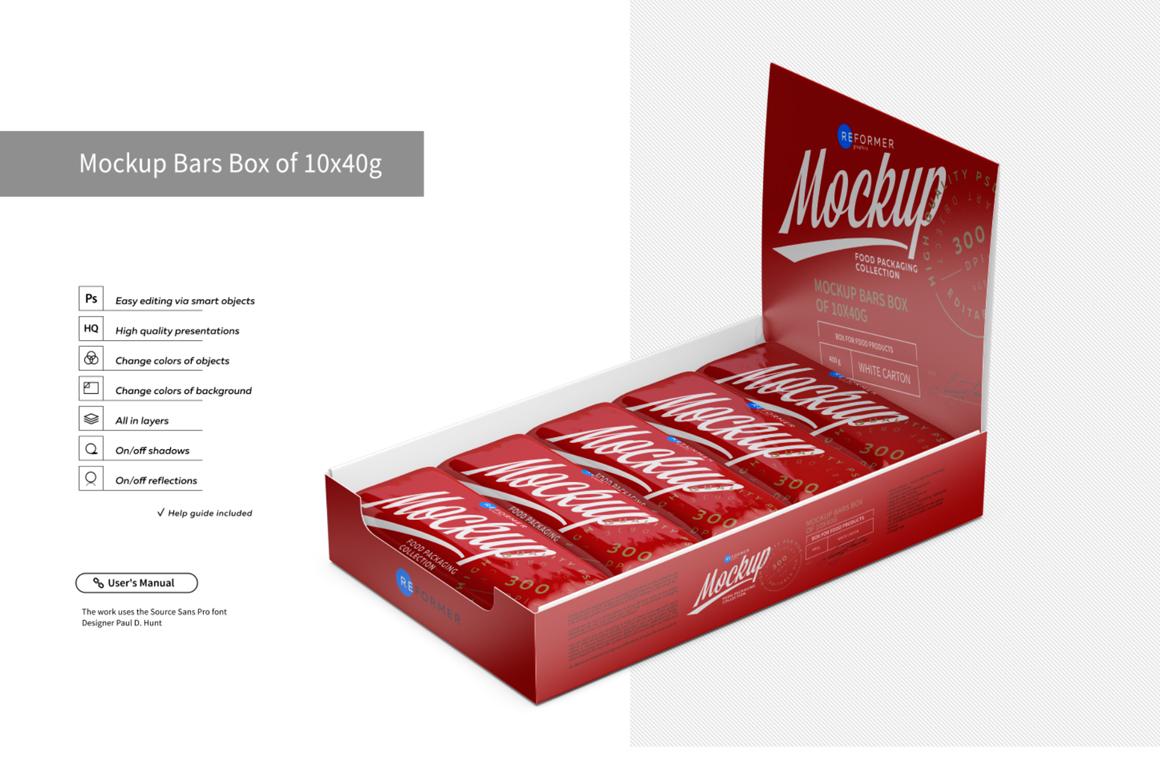 Mockup Bars Box of 10x40g example image 4