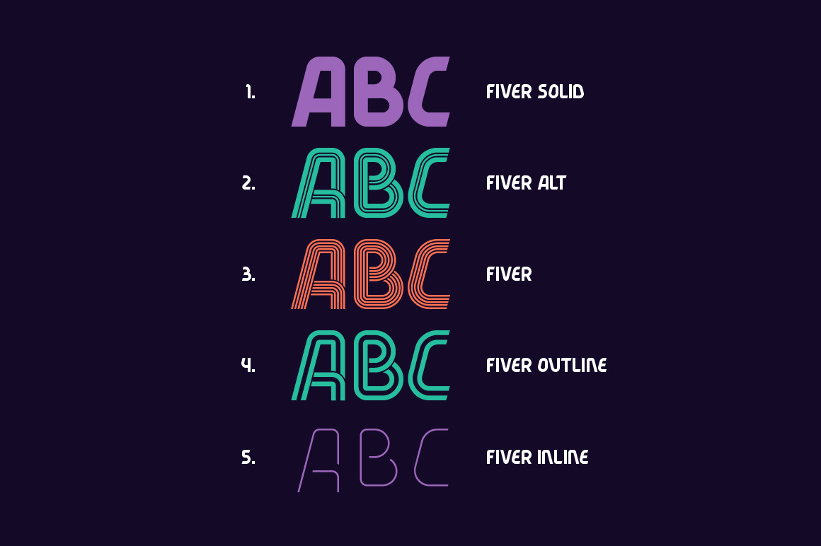 Fiver 5 fonts family example image 2