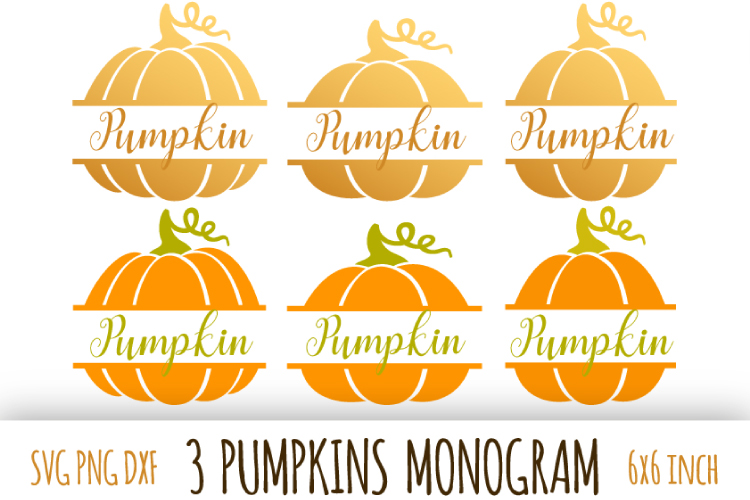 Pumpkin monogram. Thanksgiving digital clipart example image 1
