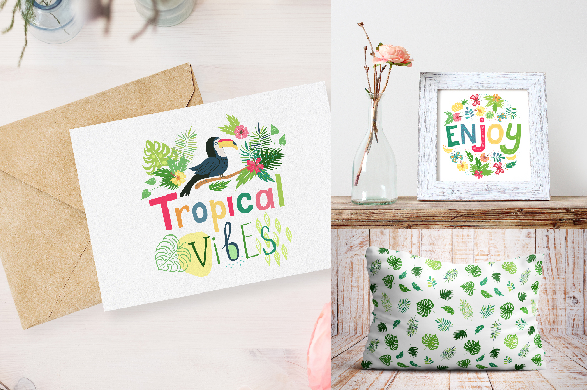 Summer Tropical Cute Vector Pack example image 9