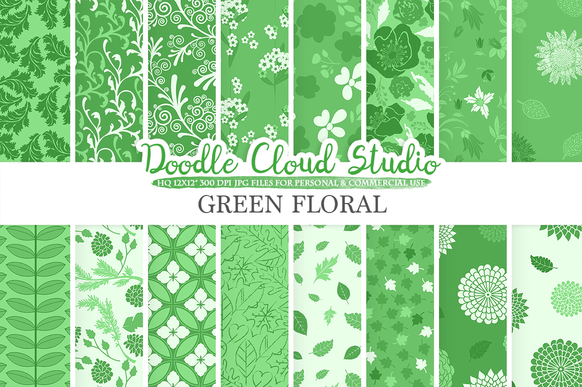 Dark Green Floral digital paper, Floral pattern Flowers Dhalia Leaves Damask Calico background, Instant Download, Personal & Commercial Use example image 1