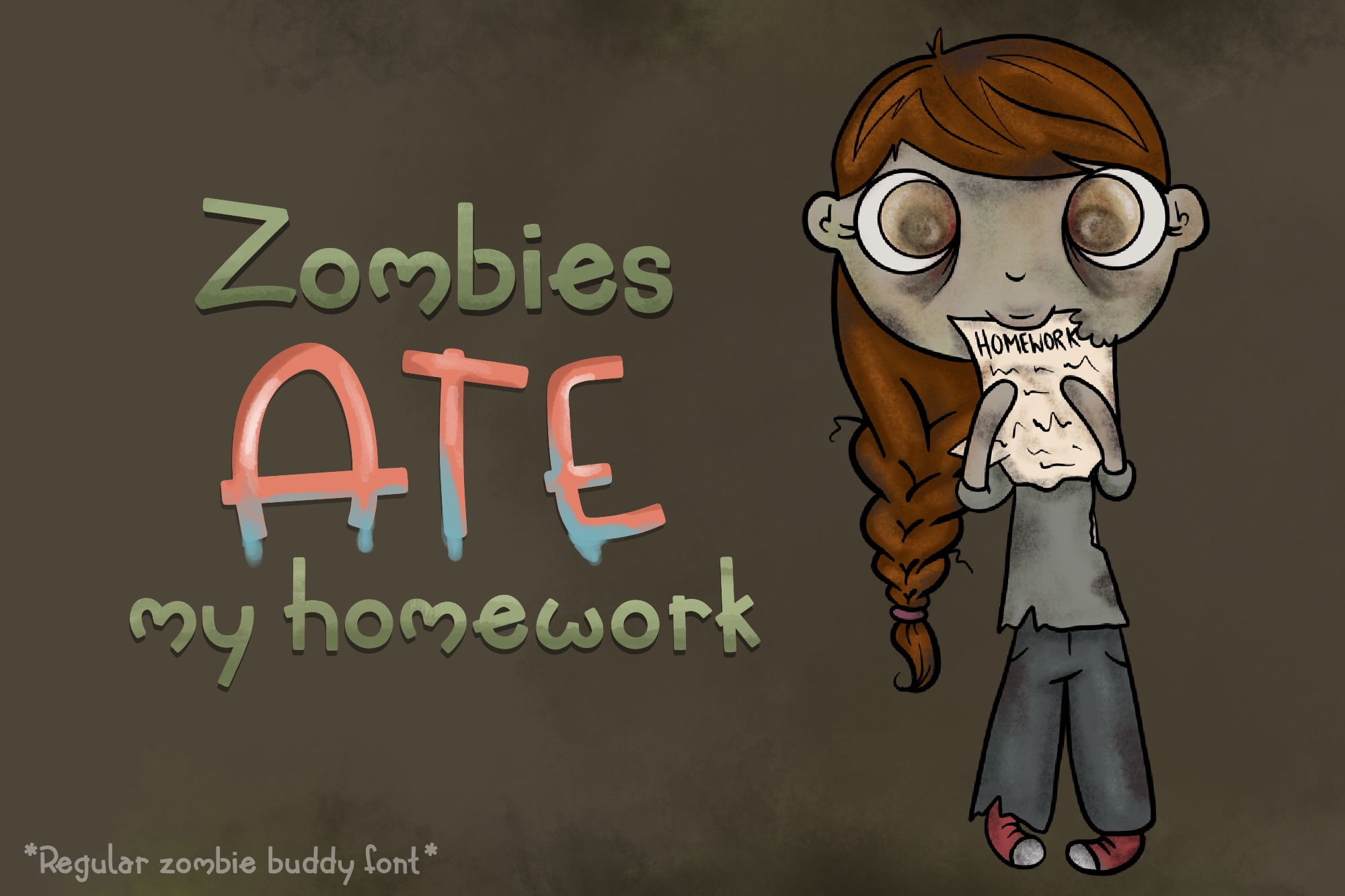 Zombie Buddy| An Apocalyptic Alternate Duo Font example image 4