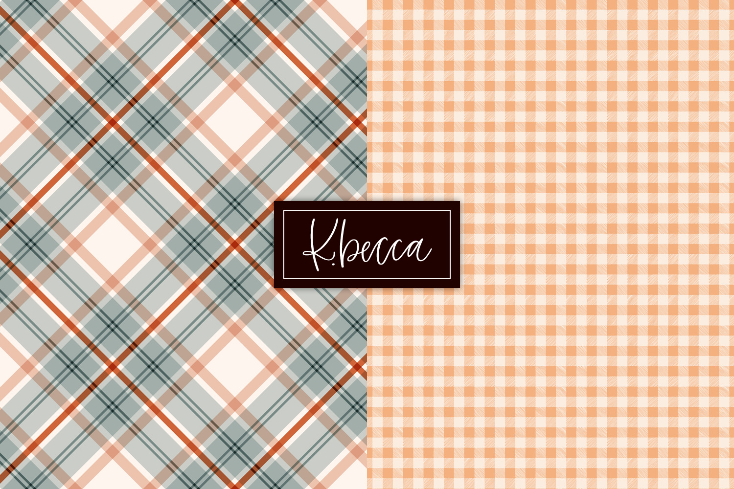 Autumn Fall Plaid Background Patterns Seamless example image 7
