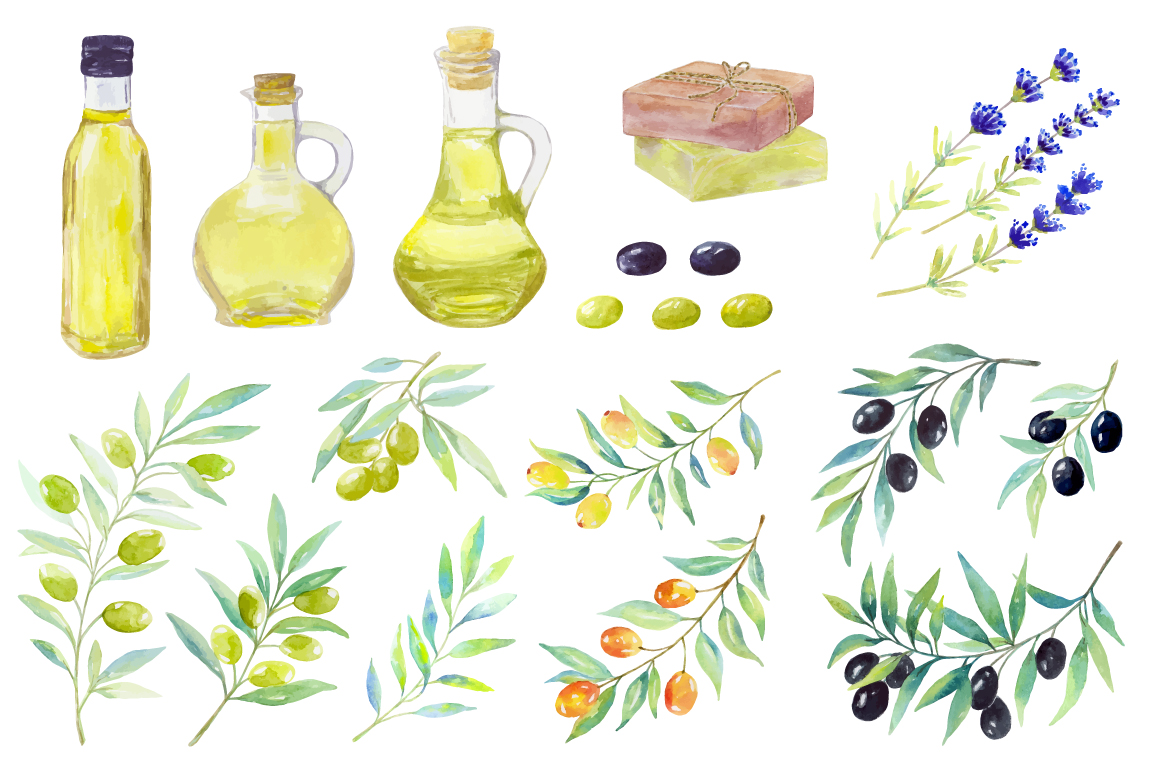 Olive set. Watercolor collection. example image 4