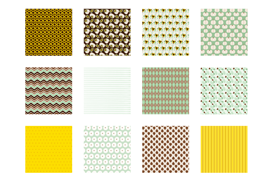 Autumn Floral Pattern collection, vector ai, example image 2