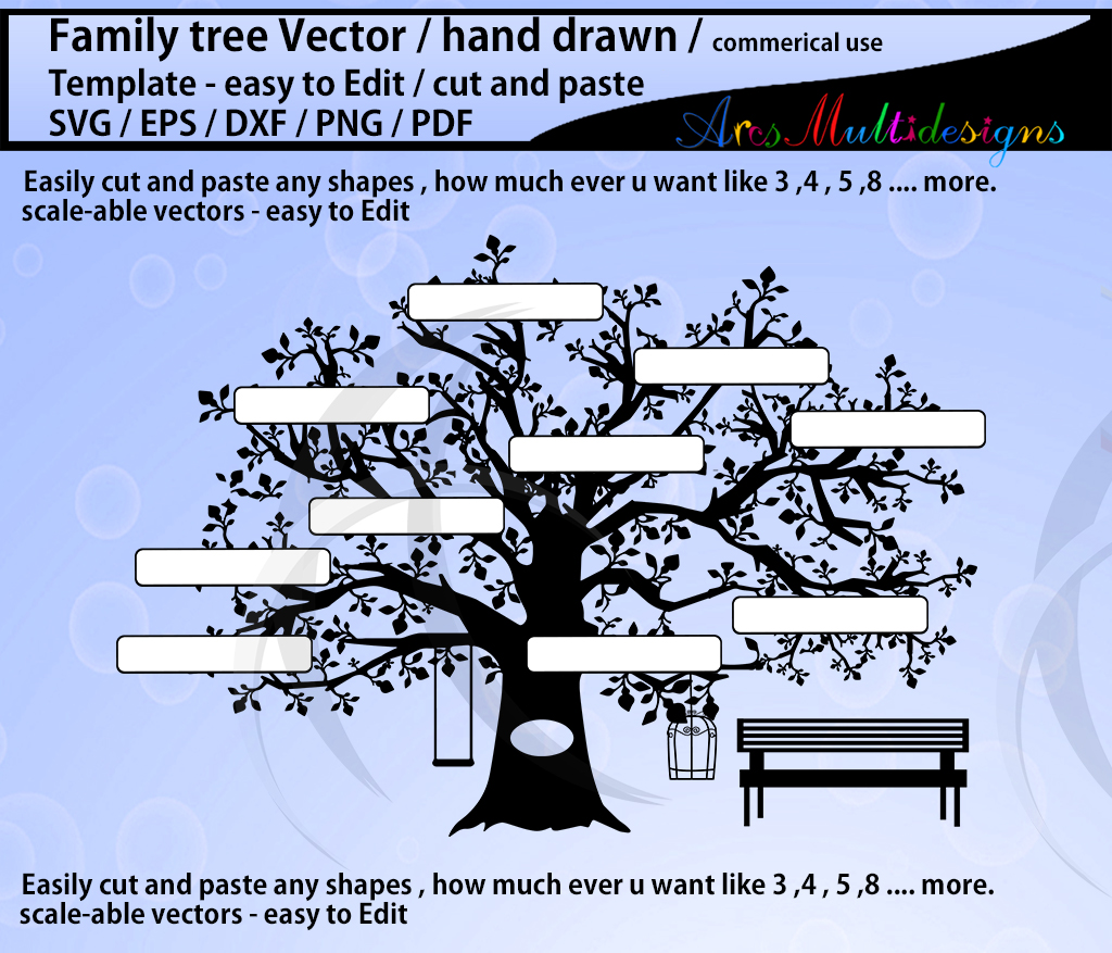 family tree clipart SVG template, EPS, Dxf, Png, Pdf, Jpg /family tree silhouette /hand drawn tree svg vector / Commerical & personal use example image 3