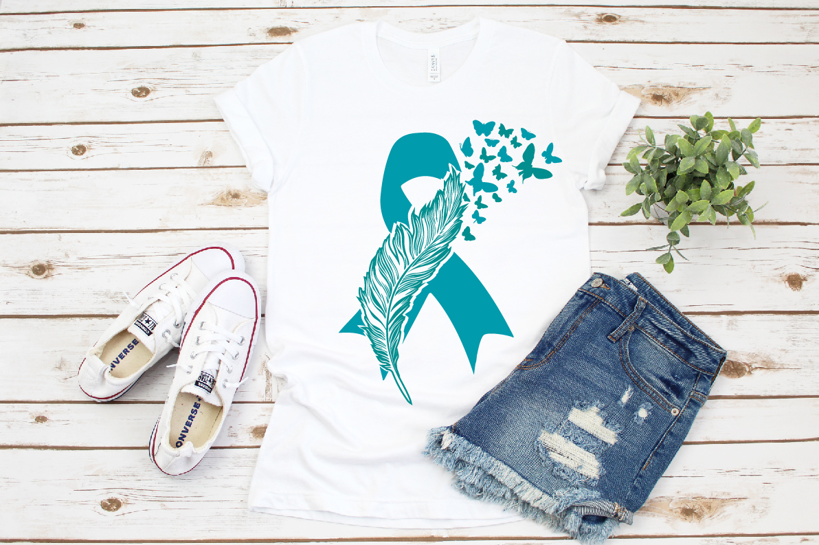 Cancer Ribbon Loss Ribbon Feather and butterfly, ovarian example image 1