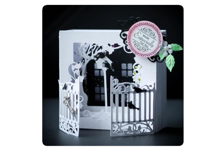 Secret Garden shadow box style Greetings card example image 1