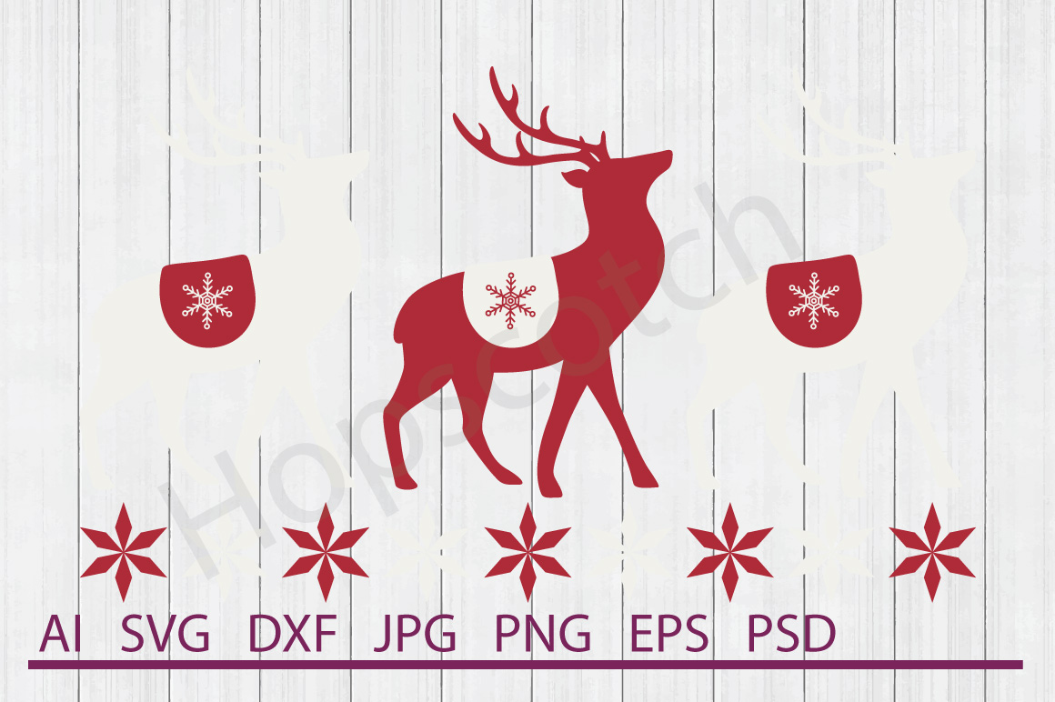 Reindeer SVG, DXF File, Cuttable File example image 1